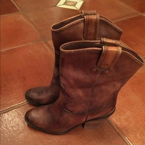Brown leather cowboy inspired boots
